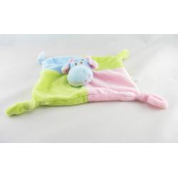 Doudou plat lapin vert bleu rose BIESSE BABY