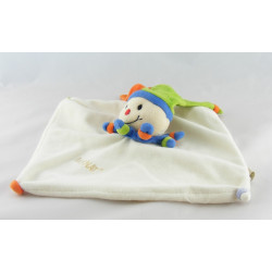 Doudou plat clown arlequin blanc bleu vert orange BABY NAT