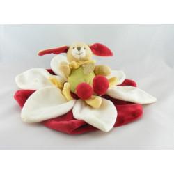 Doudou et compagnie plat lapin sur fleur blanche et rouge