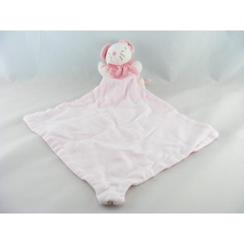Doudou souris rose avec mouchoir rose SUCRE D'ORGE