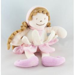 Doudou 1 ere poupée fille elfe robe pétale rose BABY NAT