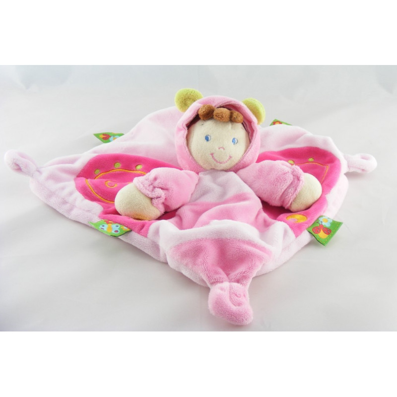 Doudou plat fillette déguisé en papillon rose NICOTOY