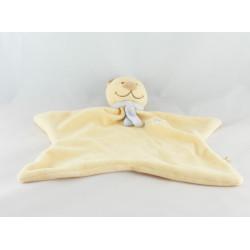 Doudou plat ours jaune foulard bleu  Tonton  NOUKIE'S
