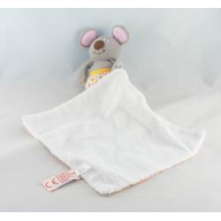 Doudou plat souris grise coeur jaune LATITUDE ENFANT