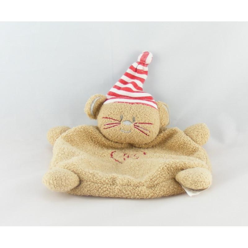 Doudou plat chat marron bonnet rayé rouge ABSORBA