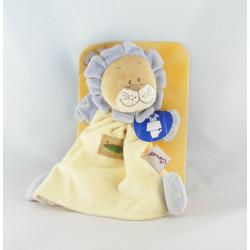 Doudou plat marionnette lion jaune orange jungle BENGY