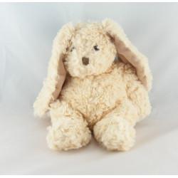 Doudou lapin beige rayé hochet DODO D'AMOUR
