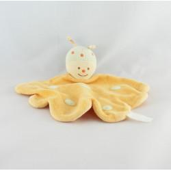 Doudou plat insecte papillon jaune vert KIMBALOO