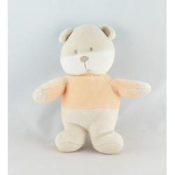 Doudou ours beige vert orange AUCHAN