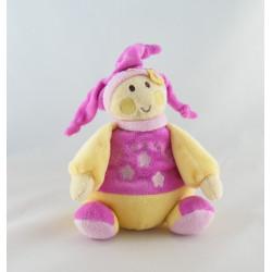 Doudou plat marionnette lutin rose jaune fleur REVE DE BEBE