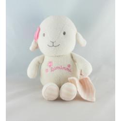 Doudou luminou mouton agneau rose avec mouchoir JEMINI