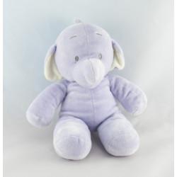 Doudou éléphant mauve bleu