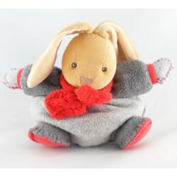 Doudou lapin boule gris echarpe rouge KALOO