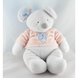 Doudou souris grise bleu pull rose fleur NICOTOY