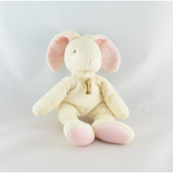 Doudou lapin blanc rose Fraise F BABY NAT