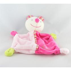 Doudou musical souris blanche rose vert fleur BABY CLUB