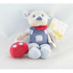 Doudou plat rond ours bleu bébé craquant KIMBALOO