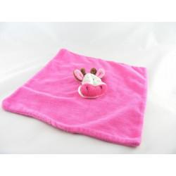 Doudou plat vache rose fleurs COMPTOIR DE LA MODE