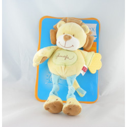 Doudou lion jaune bleu Jungle TEX