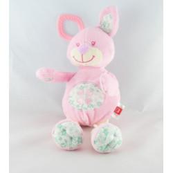 Doudou lapin rose fleurs vertes coeur TEX NEUF