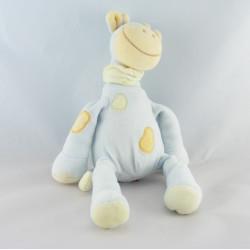 Doudou girafe bleu foulard vert TEX