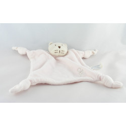 Doudou plat carré rose chat OBAIBI