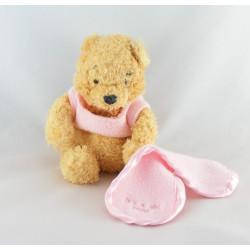 Doudou Winnie l'Ourson rose avec mouchoir blanc Disney