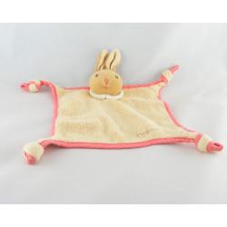 Doudou plat noeuds lapin beige rose Kaloo