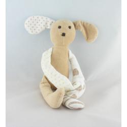 Doudou chien ours blanc marron cocard VERTBAUDET
