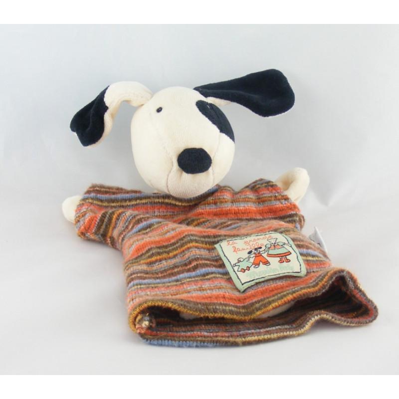 Doudou marionnette chien cocard noir La grande famille MOULIN ROTY
