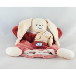 Doudou plat marionnette lapin avec bébé bordeaux rose DOUDOU ET COMPAGNIE