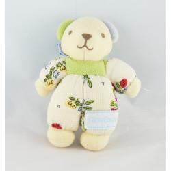 Doudou ours écru vert bleu fleurs papillons NOUNOURS