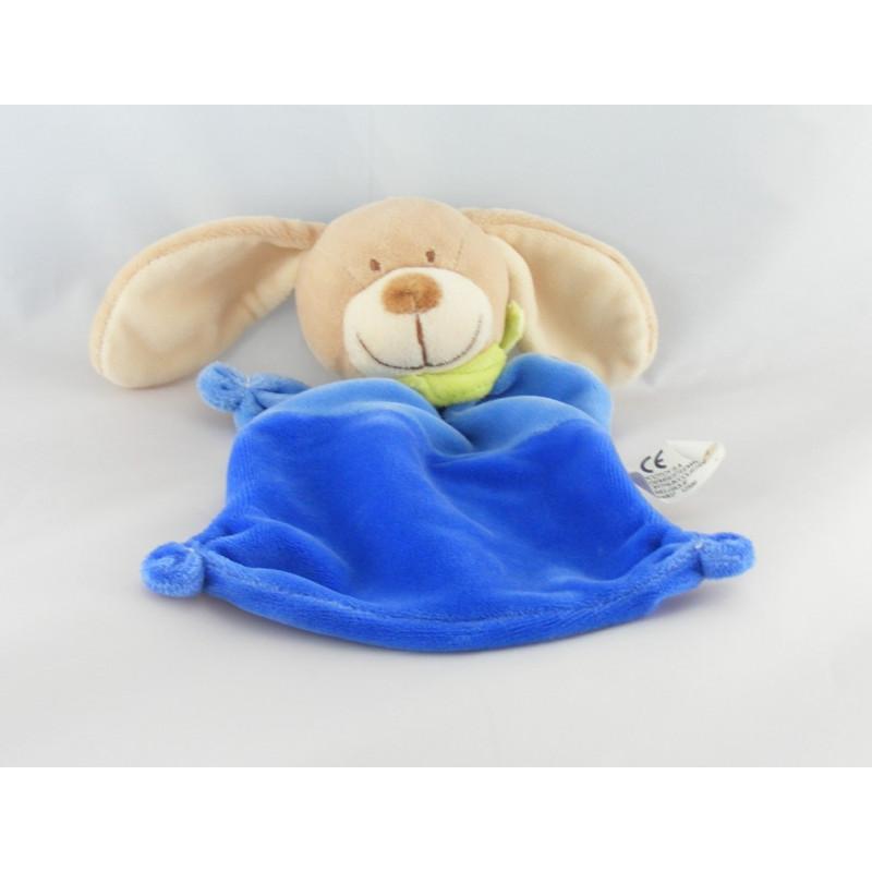 Doudou Plat Chien bleu aux grandes oreilles et foulard jaune Nicotoy