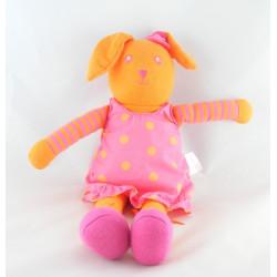 Doudou lapin orange robe rose à pois COROLLE