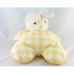 Doudou lapin blanc carreaux jaune HISTOIRE D'OURS