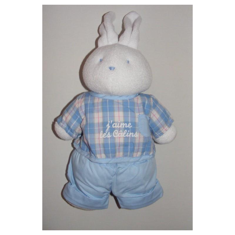 Doudou lapin blanc pantalon bleu maillot vichy KLORANE