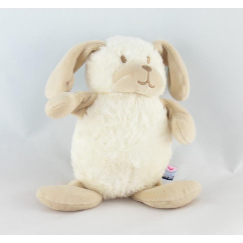 Doudou chien blanc beige SUCRE D'ORGE
