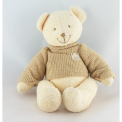 Doudou ours beige pull laine blanc NICOTOY