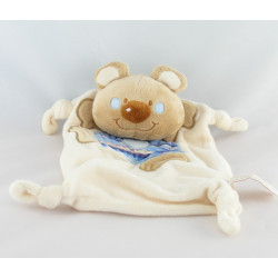 Doudou plat ours beige blanc salopette rose rayé TIAMO COLLECTION