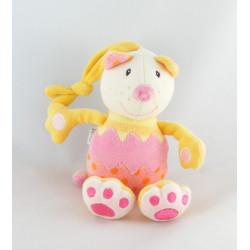 Doudou chat jaune rose BABYSUN