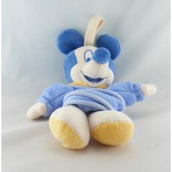 Doudou bébé Mickey bleu clair col jaune DISNEY BABY