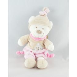 Doudou ours blanc rose beige bonnet beige empreintes NICOTOY