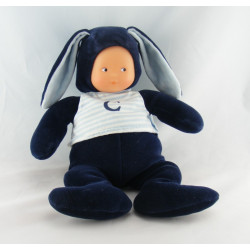 Doudou poupée bébé lapin bleu marine COROLLE