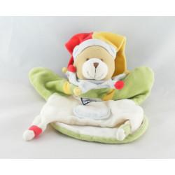 Doudou et compagnie plat ours arlequin mouchoir vert rouge