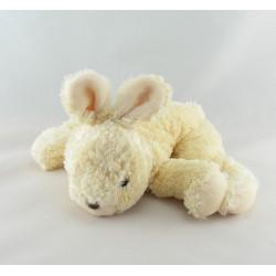 Doudou lapin beige écru fleur vichy bleu NOUNOURS 22 cm