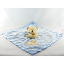 Doudou plat couverture bleu satin Winnie l'ourson Disney