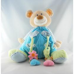 Grand Doudou ours brun pyjama bleu Noa Baby Bears NATTOU