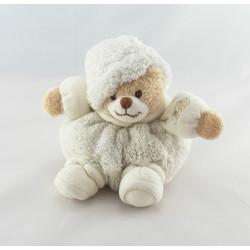 Doudou musical ours blanc bonnet BUKOWSKI