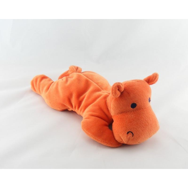 Doudou hippopotame orange SUCRE D'ORGE
