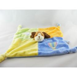 Doudou plat chien jaune vert orange bleu nuage GIPSY